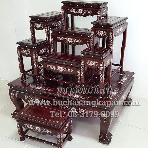 โต๊ะหมู่บูชา ไม้ประดูฝังมุก หมู่ 7 หน้า 8